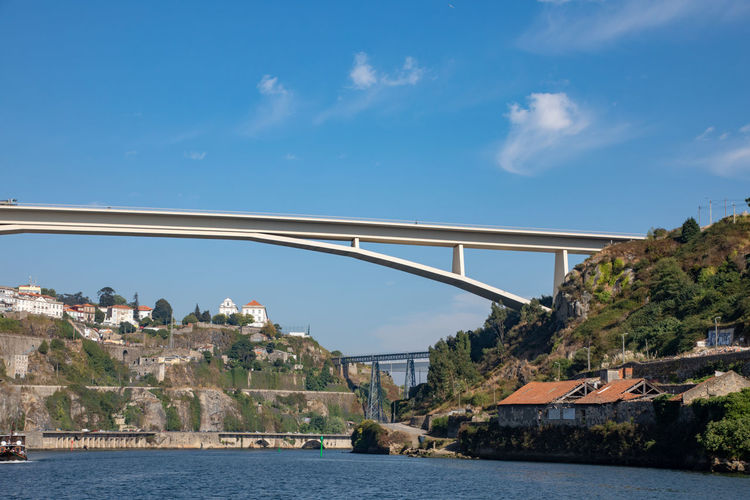 Bridges across River douro in Porto on sunny day Architecture Beauty In Nature Blue Bridge Bridge - Man Made Structure Building Exterior Built Structure Cloud - Sky Connection Day Nature No People Outdoors Scenics - Nature Sea Sky Transportation Water Waterfront