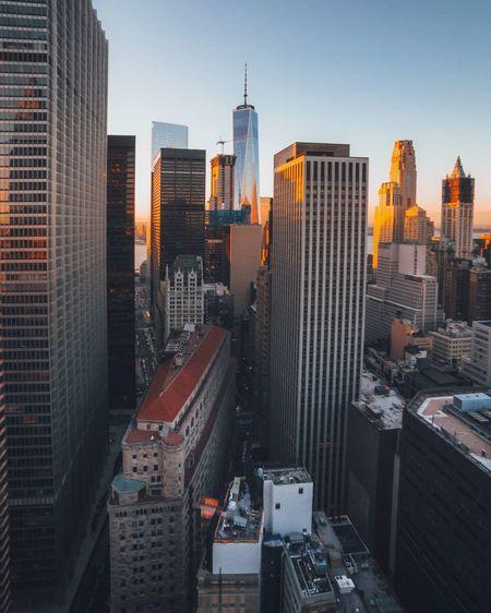 Modern Buildings In Manhattan During Sunset
