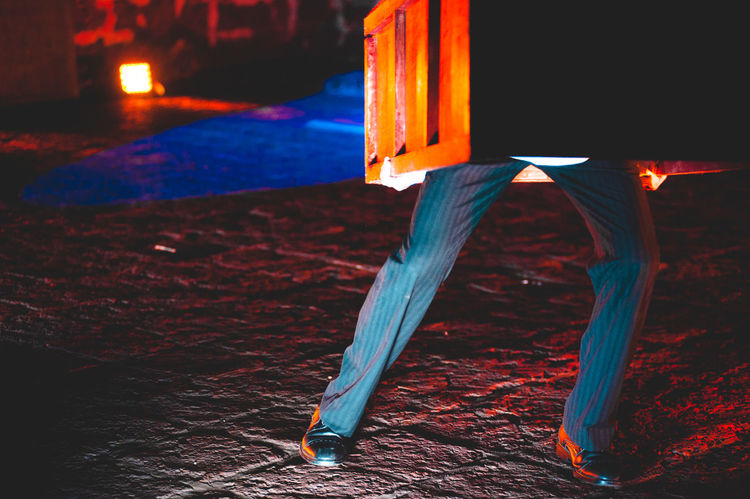 Close-up Coffin Illuminated Legs Mapfest2017 Night No People Outdoors Shoes