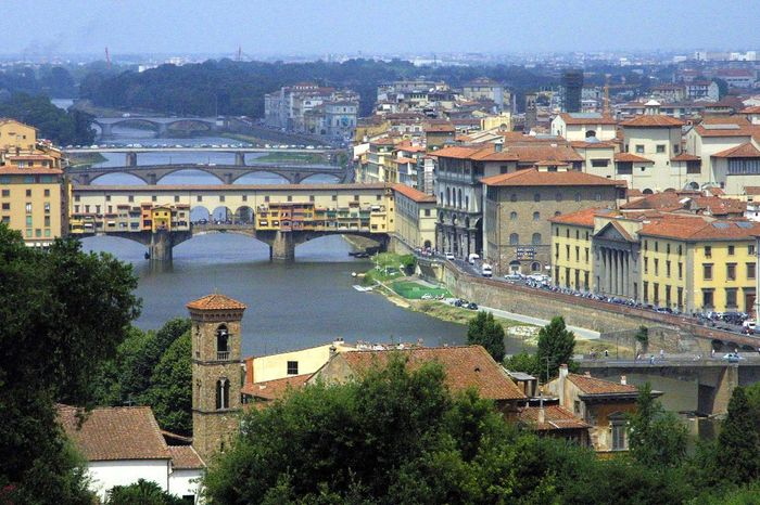Florence, Italy Architecture Building Exterior Built Structure Chain Bridge City Cityscape Day Florence, Italy High Angle View No People Outdoors Residential Building River Sky The World Before Bin Laden Travel Destinations Tree Water