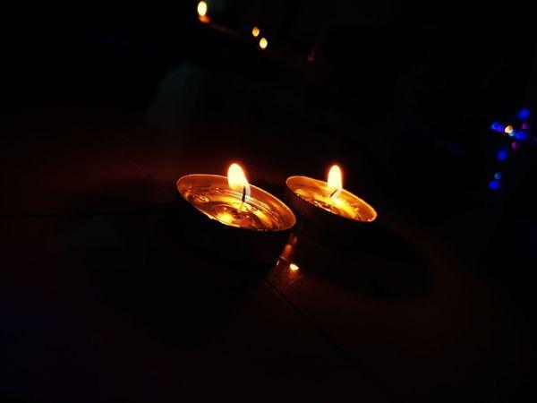 Flame Burning Celebration Candle Diya - Oil Lamp Diwali Oil Lamp Night Heat - Temperature No People Illuminated Indoors  Close-up