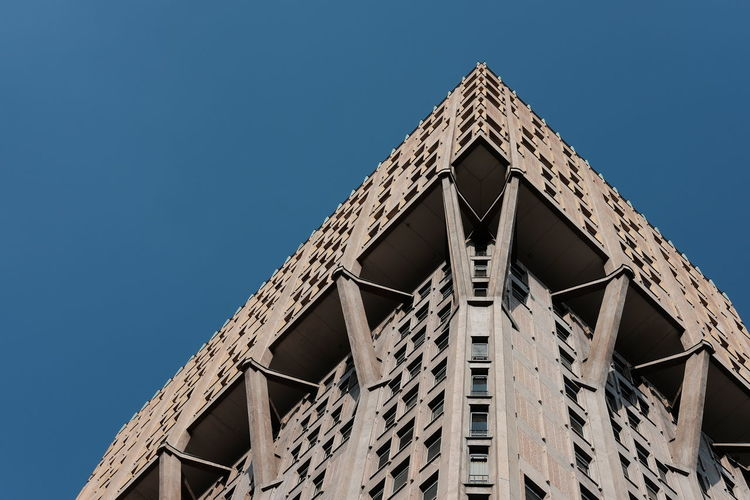 Architectural Feature Architecture Blue Built Structure Classic Chrome Clear Sky Day Directly Below Fujifilm Fujifilm_xseries Geometric Shape High Section Low Angle View Modern No People Outdoors Part Of Sky Symmetry Torre Velasca Urban Urban Exploration Urban Geometry Urban Landscape