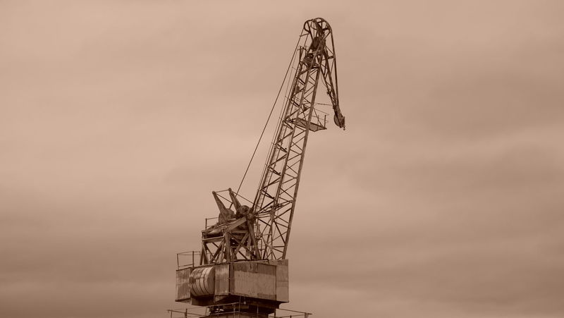 Abandoned Bygone Times Crane Low Angle View Old-fashioned Sepia Sepia_collection