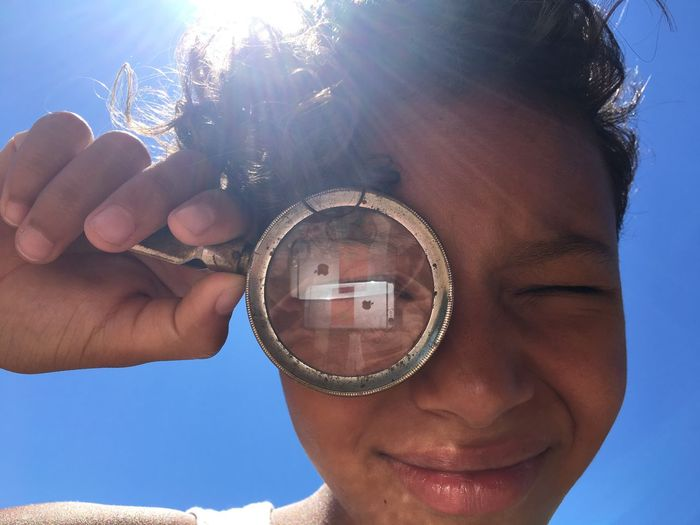 A la loupe ... Summertime Summer Children Fun Blue Sky Sunny Day Childhood Children's Portraits Carefreeness Of Childhood