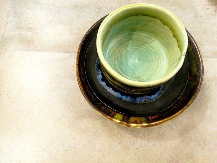 High Angle View Drink Close-up No People Green Color Food And Drink Water Indoors  Day Freshness Pottery Art Pottery Pieces Pottery Bowl Pottery Bowls Pottery Textured