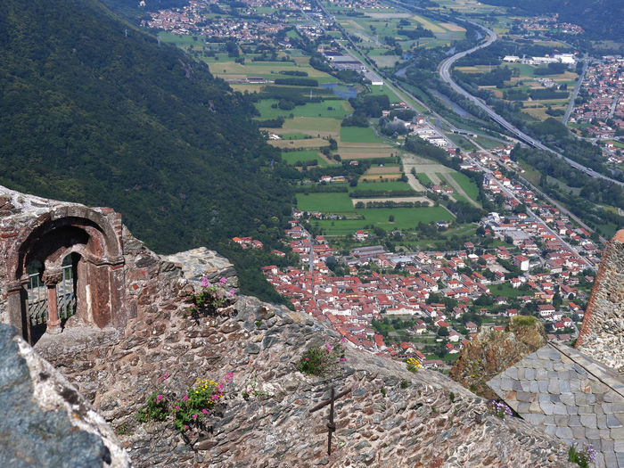 Sacra Di San Michele Abbey Abbey Ruins Aerial View Architecture Building Exterior Built Structure Cityscape Day Elevated View Landscape Mullioned Windows No People Outdoors Residential Building River Ruins Ruins Architecture TOWNSCAPE Val Di Susa