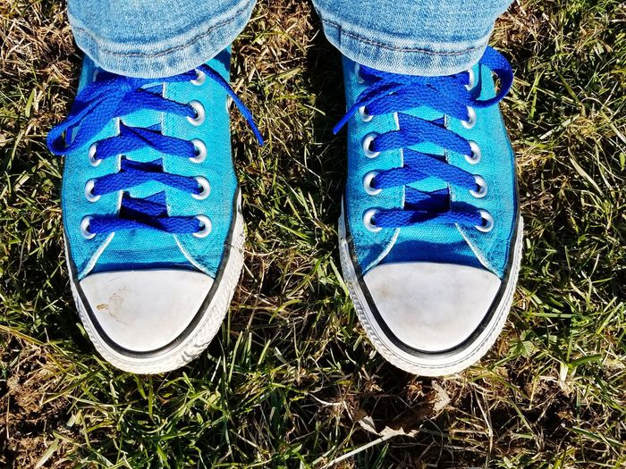 Blue Chucks Blue Converse Blue On Blue  Converse Converse All Star Chucks Sneakers Low Section Blue Human Leg Shoe Pair High Angle View Close-up Canvas Shoe Human Feet Casual Footwear Feet Shoelace Wearing Side By Side Denim Personal Perspective