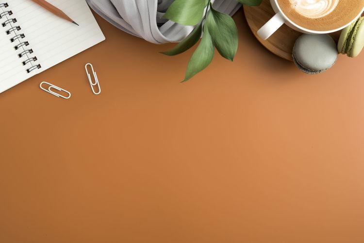 High angle view of brown table