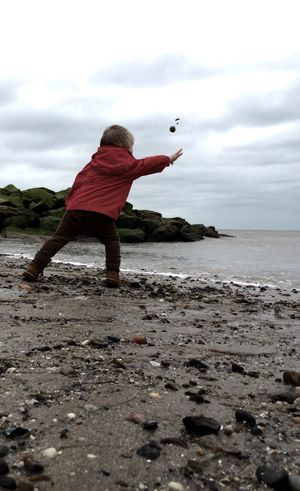 Beach Clacton Throwing Rocks Nephew  Boy Sand Rocks Coastal Life Blackandwhite