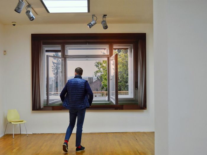 Fridrich Weinwurm Architect exhibition Gallery Art Gallery Photography Architecture Art Exhibition Man Full Length Standing Window Rear View Art Museum Looking Through Window Museum Exhibition Residential Structure Thoughtful