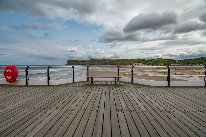 Saltburn pier Bench Saltburn Nikon Clouds And Sky Nikonphotography EyeEm Gallery Sky_collection Eye4photography  EyeEm Best Shots EyeEmBestPics Sky And Clouds Skyporn Sea And Sky Cloud - Sky Sky Water Sea Beach Land Scenics - Nature Sand Wood - Material Beauty In Nature Pier Tranquil Scene
