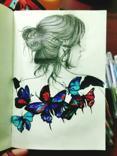 Keeping drawing Art Creativity Drawing Galaxy Watetcolor Freedom Butterflies And Girl