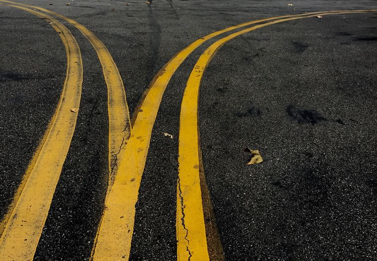 Road Double Yellow Lines Dividing Driving Curve Los Angeles, California Curved