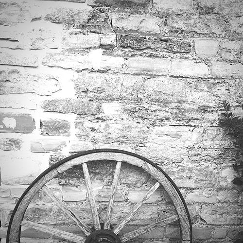 Wall Brick Wall Bricks Barn Wheel Old Black And White Black & White Monochrome Photography