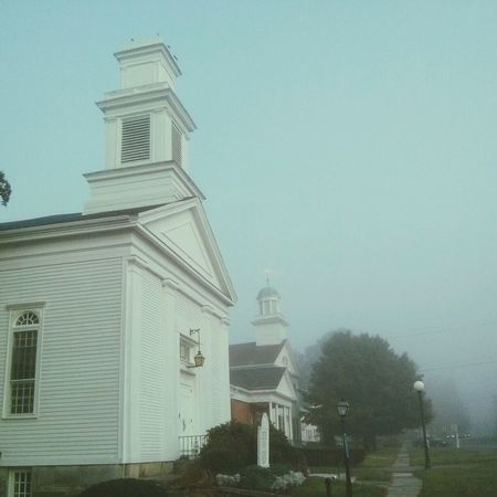 morning on the tolland green New England  Goodmorning Foggy Morning Melancholic Landscapes