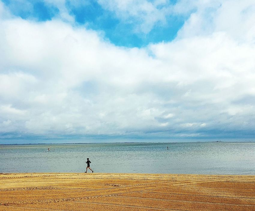 Beach Sea Water Beach Sky Scenics Cloud - Sky Nature Outdoors Horizon Over Water Tranquil Scene Sand One Person Runner Running Free Jogger EyeEmNewHere