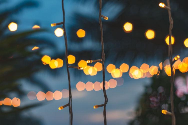 Defocused image of illuminated string lights at dusk