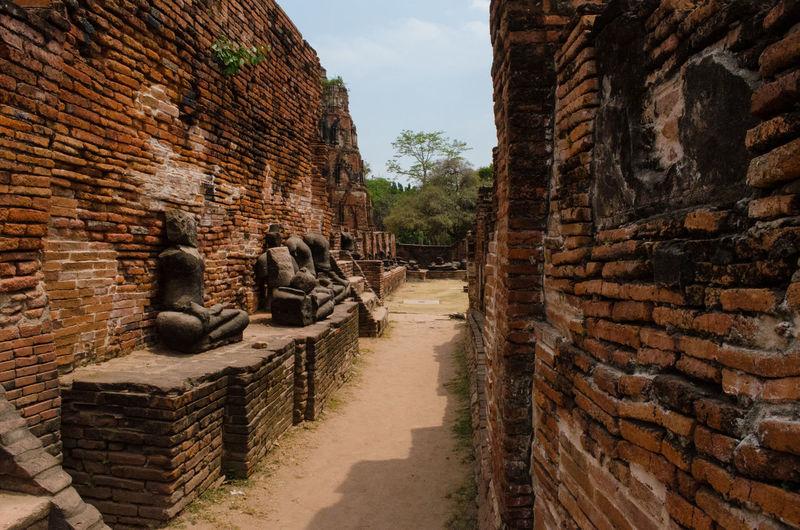 Abandoned Buddha Statues In Phra Nakhon Si Ayutthaya Against Sky