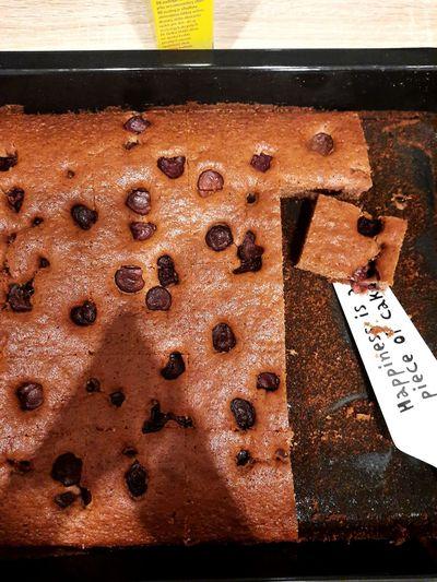 High angle view of chocolate cake on table