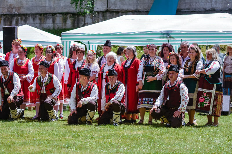 Adult Bulgaria Day Full Length Grass Happiness Large Group Of People Leisure Activity Looking At Camera Men Musician Outdoors People Portrait Real People Smiling Standing Teamwork Togetherness Tradition Traditional Traditional Clothing Traditional Costume Traditional Culture Women