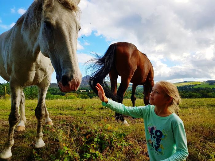 Domestic Animals Outdoors Horses Stalion Pets Pet Portraits Girl With Horse Be. Ready.
