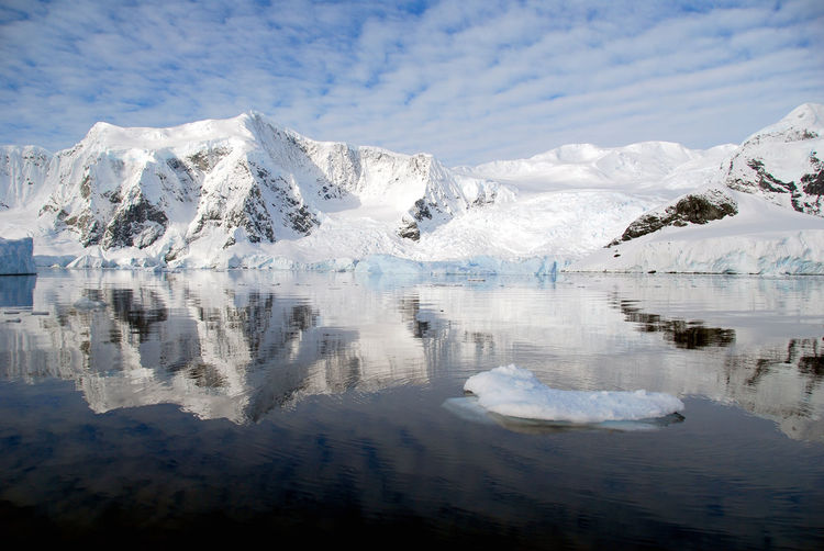 Scenic view of lake by glacier against sky