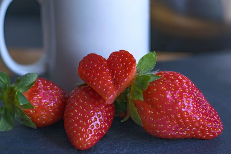 Strawberry Berry Fruit Red Food Food And Drink Fruit Close-up Healthy Eating Freshness Wellbeing Still Life Focus On Foreground Ripe Studio Shot Nature Cup Table Indoors  Heart Shape Positive Emotion Love