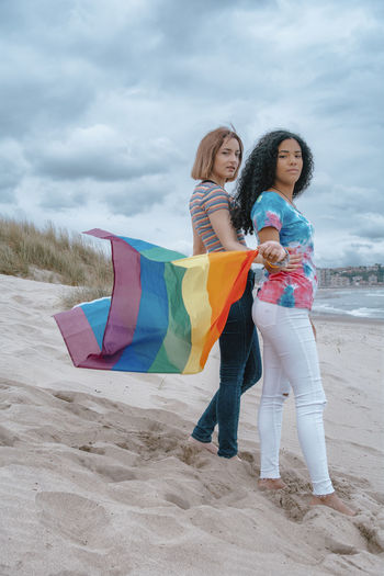 Full length of mother and daughter on beach against sky