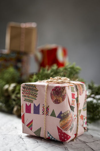Close-up of gift on table