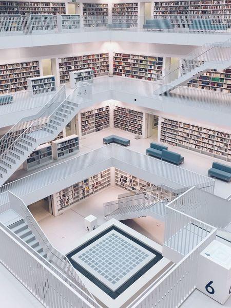 Beautiful public library in Stuttgart, Germany hHigh Angle ViewsStaircaserRailingaArchitectureiIndoors nNo PeopledDaylLibrary BuildingSStuttgartsStuttgartmobilephotographers Your Ticket To Europe