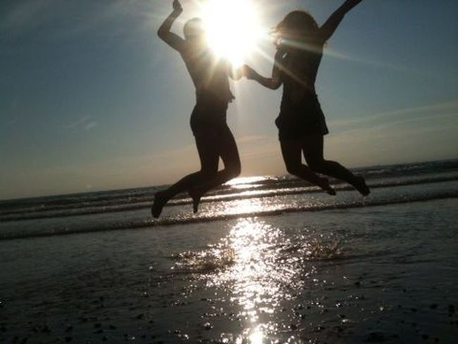 Life Is A Beach Summer Jump Smile