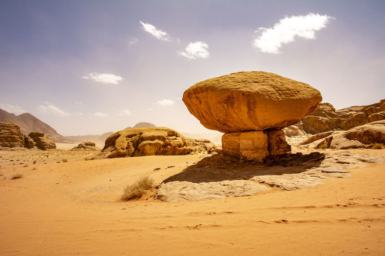 Mushroom rock at wadi rum desert in jordan. travel and tourism in jordan