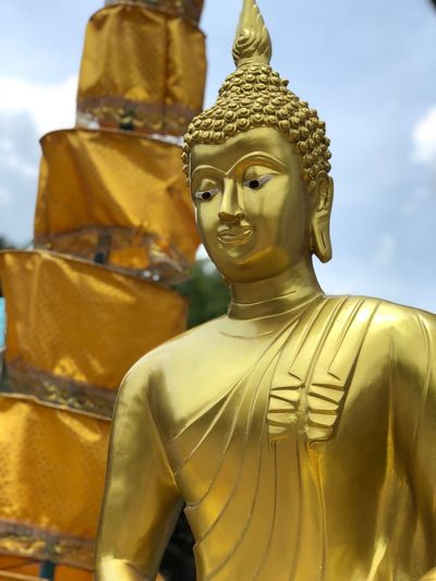 Buddha statue in the temple in Thailand Thailand Temple Thailand Temple Believe Buddhism Buddha Buddhism Religion Sculpture Human Representation Statue Representation Art And Craft Male Likeness Gold Colored