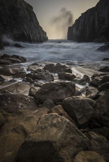 Water Waterfall Beach Sea Sky Landscape Cliff Rock Formation Geology Seascape Wave Coast Rocky Coastline Flowing Water Rock Canyon