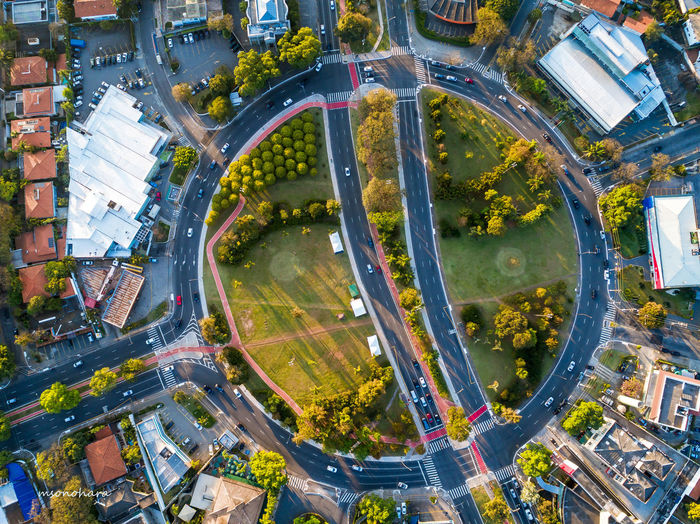 Green Square Aerial View City Cityscape Connection Day Modern No People Outdoors Phantom Street Travel Destinations Tree Urban