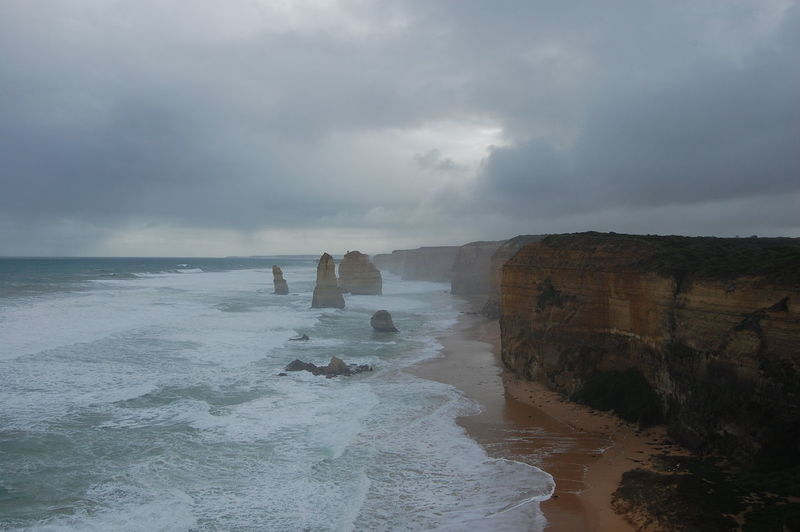Stormy day at the 12 apostles. Victoria. Australia. Sea Water Sky Beauty In Nature Scenics - Nature Land Cloud - Sky Beach Rock Horizon Over Water Motion Horizon Nature Wave Rock - Object Tranquil Scene Solid Day No People Outdoors Power In Nature 12 Apostles Victoria Australia