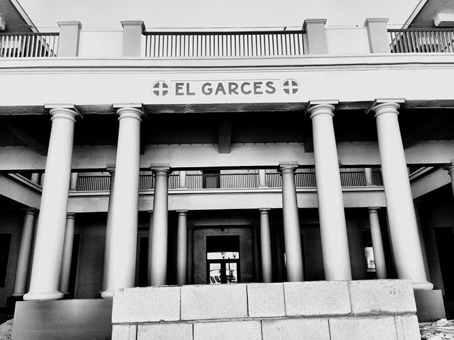 """""""El Garces No. 2"""" Front shot of the El Garces Harvey House in Needles, California, the """"Crown Jewel"""" of the entire Fred Harvey chain. Historical Landmarks Historical Place Historical Monuments Historical Building Historical Site Route 66 Harvey House Needles Blackandwhite Photography Blackandwhite"""