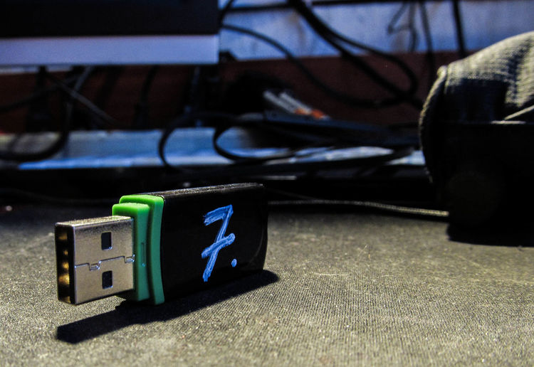 Close-up of usb stick on table