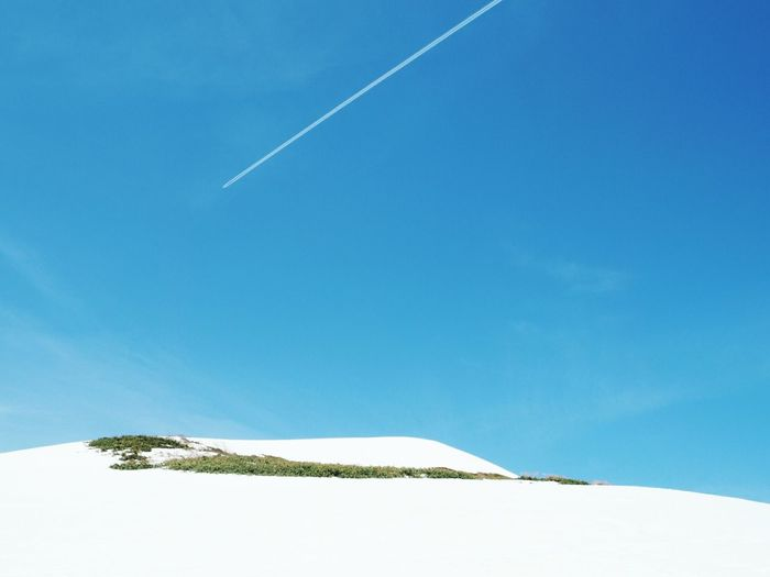 Vapor Trail Landscape Outdoors Blue Sky Scenics Clear Sky Nature Day No People Beauty In Nature Cold Temperature Snow