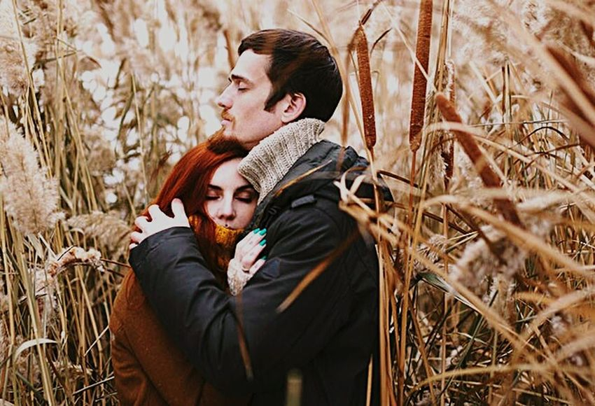 Two People Love Young Adult Heterosexual Couple Men Young Men Adults Only Couple - Relationship Winter Romance Young Women Lifestyles Women Adult Togetherness Choice Sweater People Field Grass