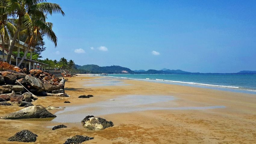 Laem Son Beach Beach Beauty In Nature Chumphon Coastline Horizon Over Water Laem Son Beach Nature Pak Nam Lang Suan Scenics Sea Sky Thailand Tranquil Scene Vacations