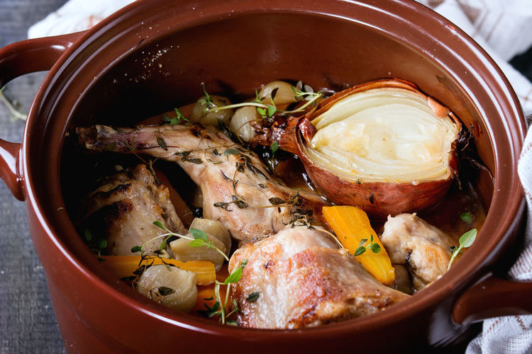 Rabbit Meat Stew Food Roasted Meal Pan Rustic Dinner Wooden Lunch Recipe Roast Cooking Hare Vegetable Background Gourmet Dish Healthy Carrot Onion Bouillon Broth Thyme Ceramic Leg Stewed Cuisine Pepper Cooked Vegetables Table Braised Sauce Brown Delicious Tasty Homemade