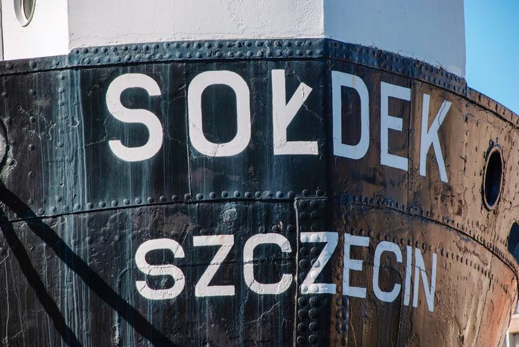 Stettin Letters Detail Vessel Black Sołdek Boat Danzig Poland Gdansk Text Western Script Communication No People Sign Close-up Capital Letter Black Color Transportation Metal