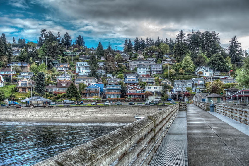 Dash Point homes. Artistic HDR Architecture Building Exterior Buildingexterior Built Structure City Cityscape Cloud - Sky Dash Point Day Nature No People Outdoor Outdoors Sky Storm Cloud Tree Water