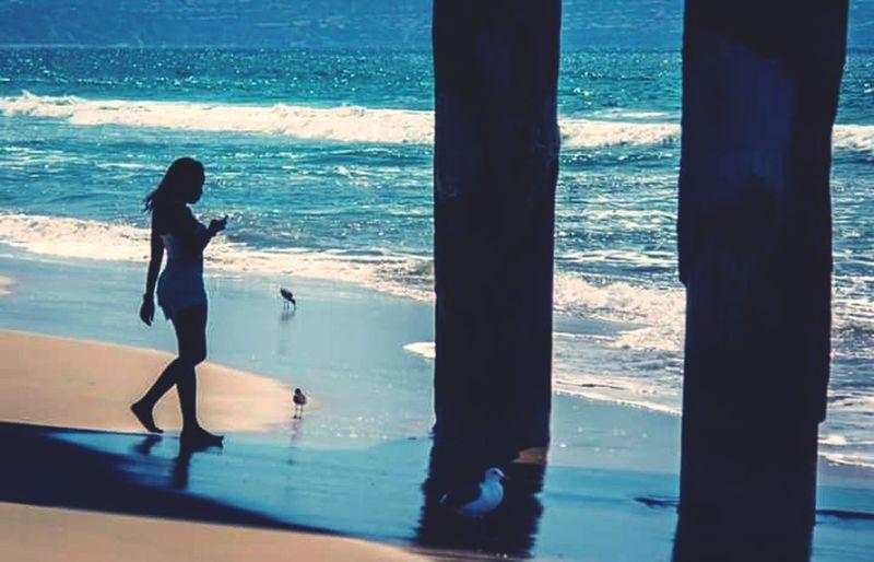 Manhattan Beach Girl On The Shore Enjoying Life Peaceful View Waves Ocean View Ocean Birds First Eyeem Photo