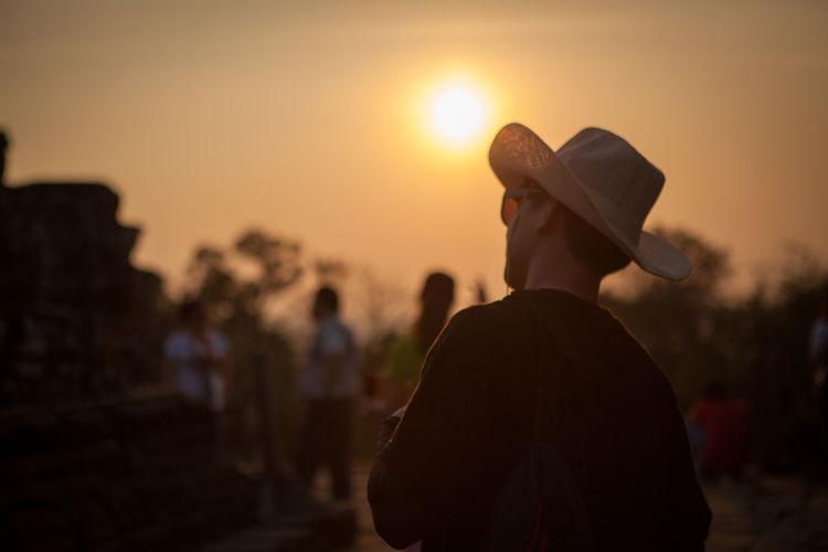 Man in sun set