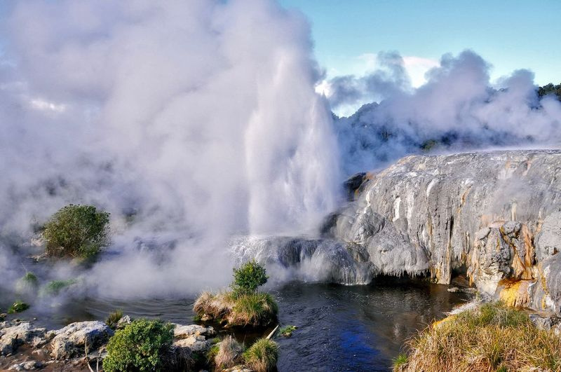 Majestic view of pohutu geyser