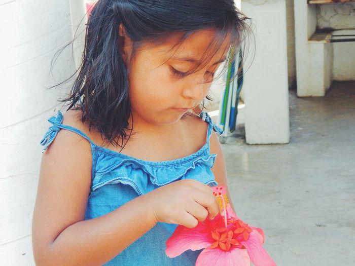 Keyli. Beautiful Small Photo Pink Flower and Red