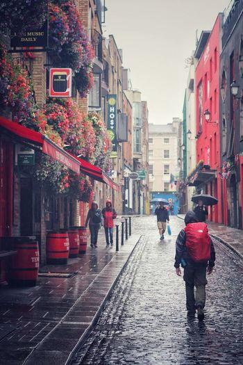 City Water Red Men Wet City Life Street Pedestrian Rain Full Length