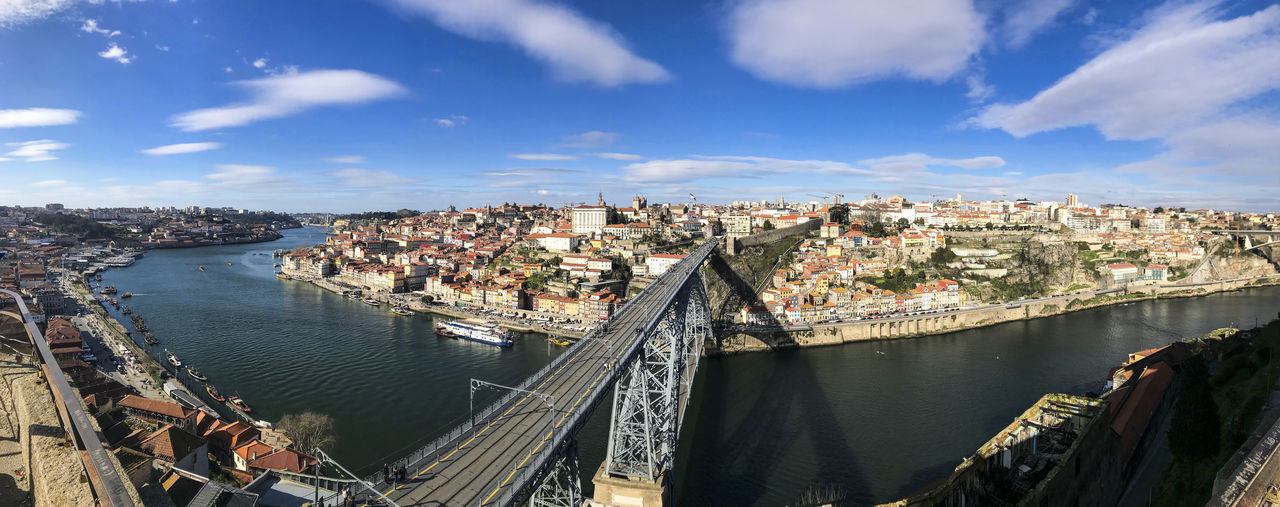 Bridge over river in city against blue sky